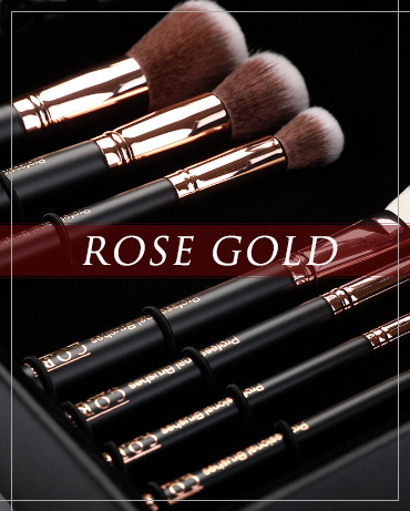 Rose Gold Makeup Brushes in Black - Corecosmetic.com